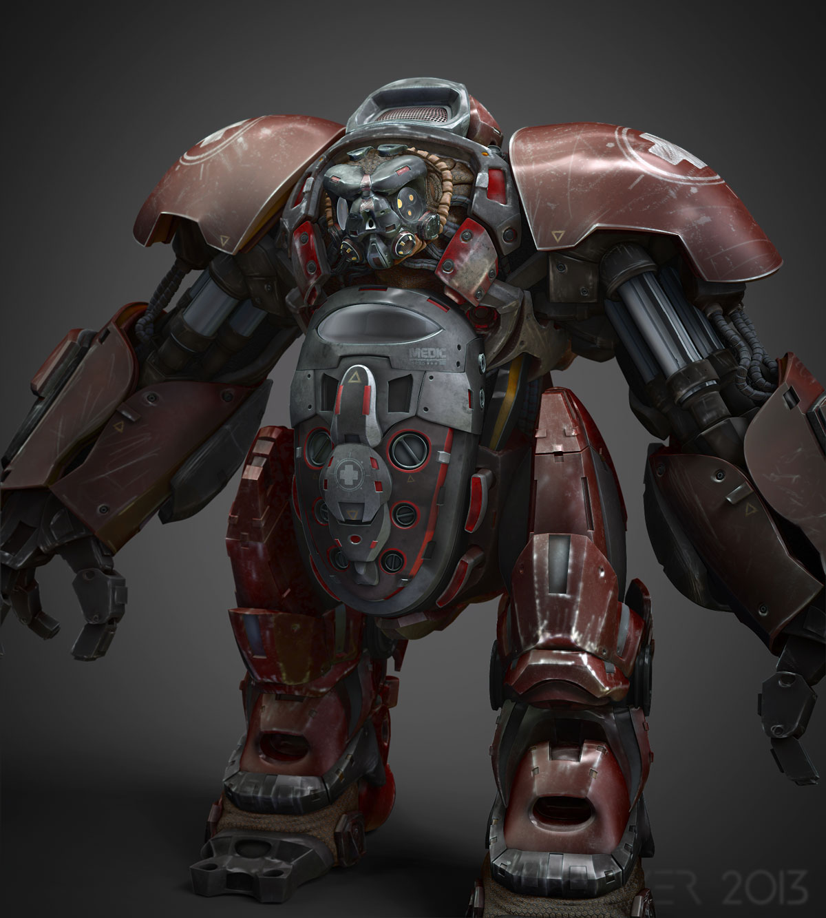Close up render of medical bot in zbrush