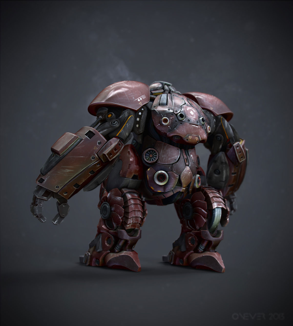 Medical mech design rendered from behind